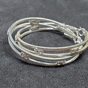 Silver Tone Rhinestone Hoop Earrings Vintage